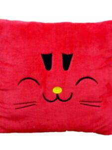 Gối Ngủ Văn Phòng Cao Cấp 40*40 Hình Mặt Mèo Màu Đỏ Ngộ Nghĩnh