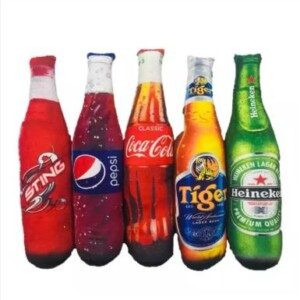 Gấu bông Hình 3D Bia Tiger, Bia Heniken, Nước Pepsi