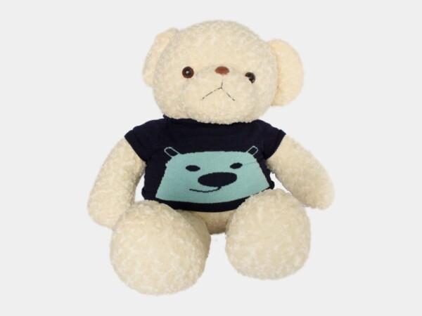 Gấu Teddy Xoăn Kem Len Xanh Xám Cực Xinh
