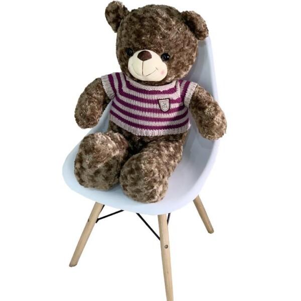 Gấu Bông Cao Cấp Teddy Áo Len Sọc Đỏ Màu Nâu