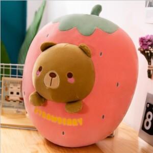 gấu bông trái cây quả dâu hình mặt thú